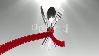 Tie a ribbon on cutlery set animation(included alpha)