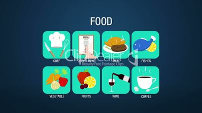 Food icon set animation, chef,order menu, meat, fishes, vegetable, fruit, wine, coffee(included Alpha)