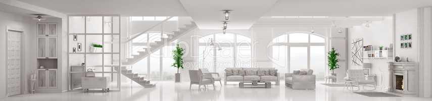 White loft apartment interior 3d rendering