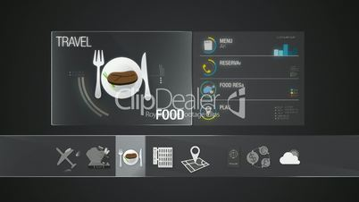 Food icon for travel contents.Digital display application.(included Alpha)
