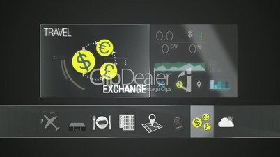 Exchange currency icon for travel contents.Digital display application.(included Alpha)