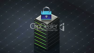 Database symbol and Security. Database server web hosting icon 3D