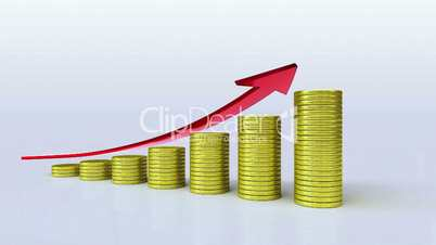 Pile up Golden coins and increase red arrow, expressed growth profits 2(included Alpha)