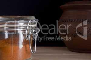 Ground saffron in a glass