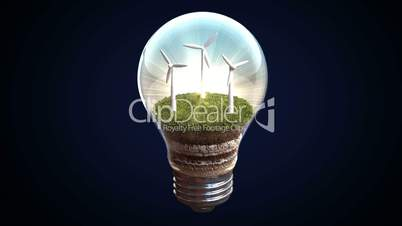 Wind energy makes the electric bulb, Eco-friendly energy.