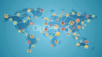 Smart phone connecting people of the world, Global business network. social media service.