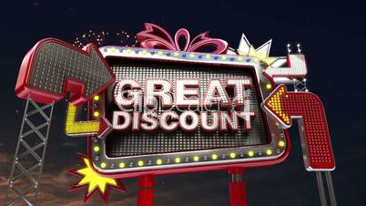 Sale sign 'GREAT DISCOUNT' in led light billboard promotion.
