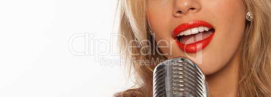 singer with retro mic