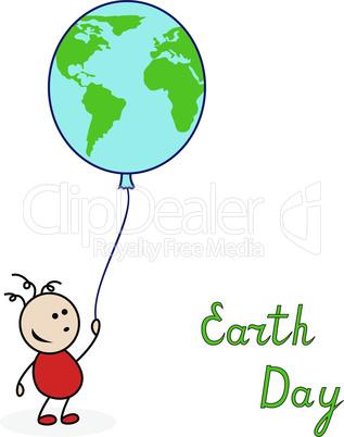 Boy with balloon as a globe