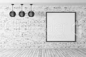 Interior with lamps and poster 3d render