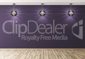 Three lamps over purple wall interior background 3d rendering