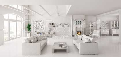 White apartment interior 3d render