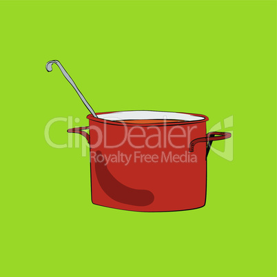 Pot with ladle vector illustration