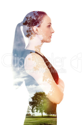 woman double exposure nature