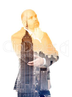 business man double exposure building