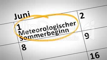 Meteorological beginning of the summer first of june in german l