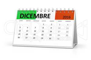 italian language table calendar 2016 december
