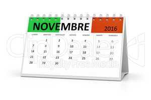 italian language table calendar 2016 november
