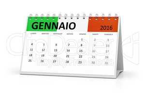 italian language table calendar 2016 january