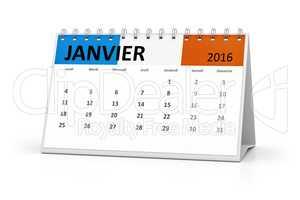 french language table calendar 2016 january