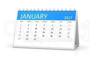 blue table calendar 2017 january
