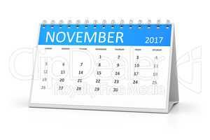 blue table calendar 2017 november
