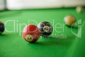 Billard balls on green billard table