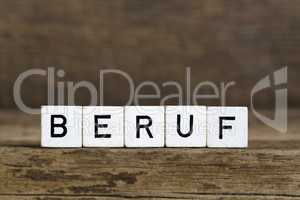 The German word profession written in cubes