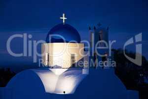 Kirche bei Sonnenaufgang, Fira, Santorin, Griechenland