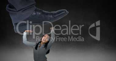 Composite image of businessman about to step on banana peel