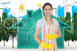 Composite image of smiling woman with a broom on her shoulder