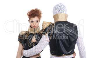 Contemporary young dancers in lace-leather suits