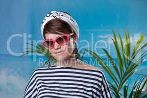 Pretty middle-aged woman dressed in sailor's style
