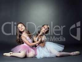 Studio shot of two graceful ballet dancers