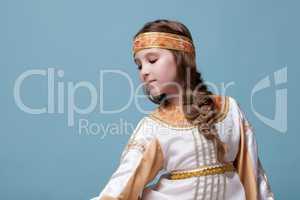 Portrait of charming little folk dancer