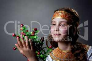 Nice little dancer posing with twig of berries