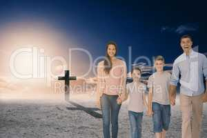 Composite image of portrait of happy family walking over white b