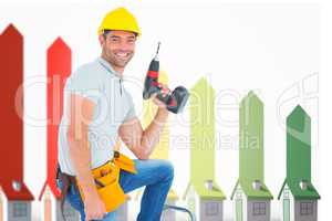 Composite image of confident handyman holding power drill while