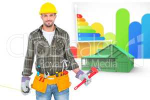 Composite image of manual worker holding various tools
