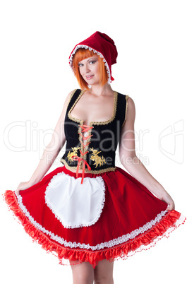 Portrait of beautiful adult Red Riding Hood