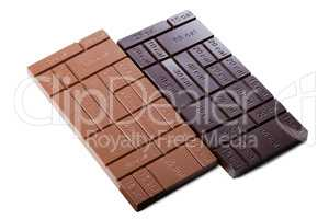 Two chocolate bars with indication of calories