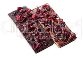 Dark and milk chocolate bars with dried cherries