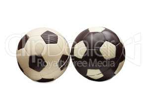 Soccer balls made ??of white and milk chocolate