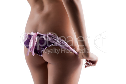 Rear view of elastic woman's ass in erotic panties