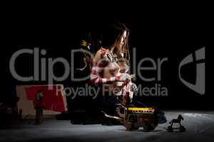 Image of naked female circus performer