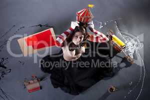 Top view of pretty circus performer posing topless