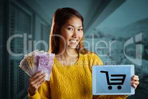 Composite image of smiling asian woman showing tablet and bank n