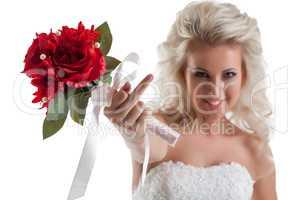 Portrait of naughty bride shows rude gesture