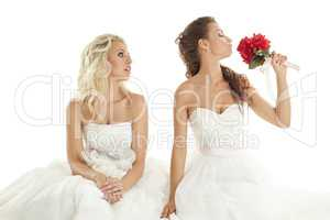 Concept of double wedding. Two sexy brides posing