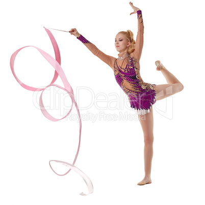 Image of artistic gymnast dancing with ribbon
